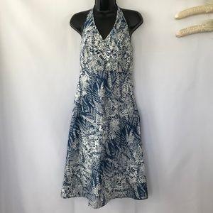 Ann Taylor Blue & White Halter Dress. NWOT